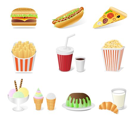 fast food set isolated on the white background Vector