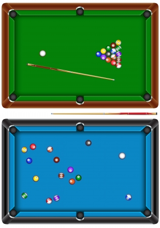 top angle view: billiard table Illustration