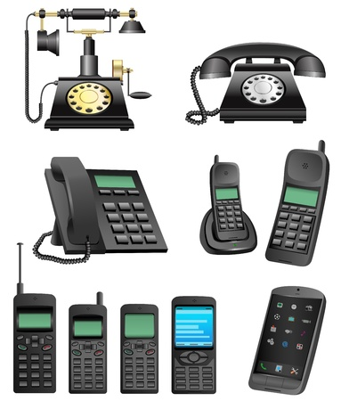 ancient telephone: phone evolution Illustration