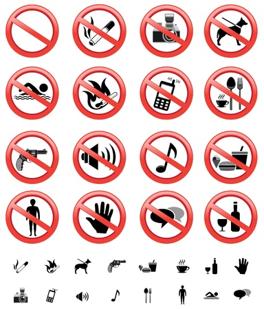 prohibido fumar: señales de prohibido establecer Vectores
