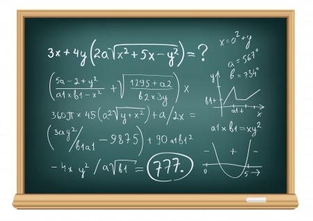 incomprehensible: The blackboard with difficult equations isolated on a white background