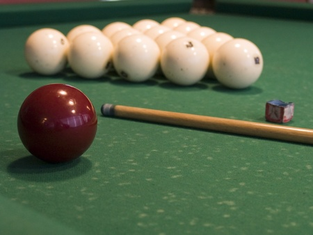 The russian billiard attributes, cue, chalk and balls Stock Photo - 14235852