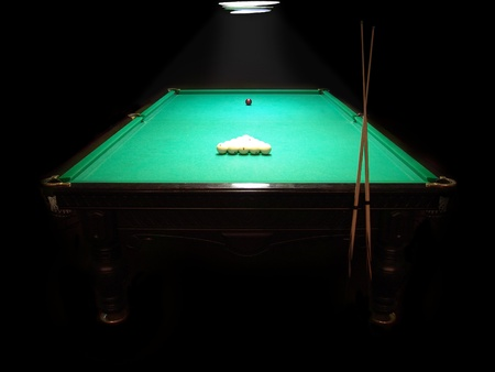 The russian billiard table with a cue and balls on a dark background photo