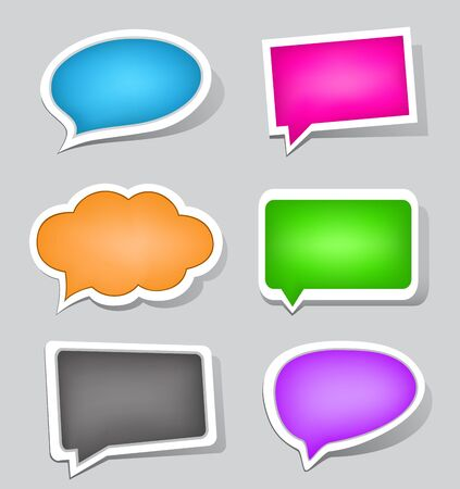 The labels set suitable to use for speak or display different text messages Vector