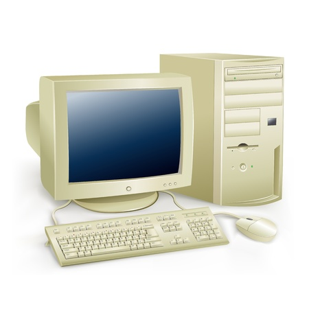esc: The retro desktop white computer with monitor, keyboard and mouse on the white background