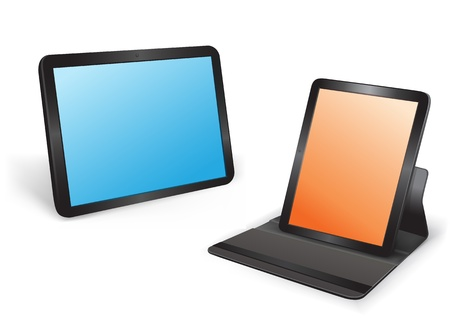 Two tablets in different position on the white background Vector