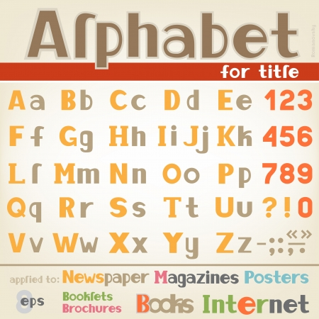 The alphabet for writing headlines and different titles text, colored with digits and symbols