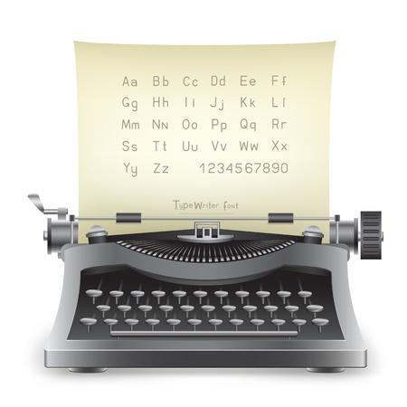 m�quina de escribir vieja: La m�quina de escribir retro negro de escritorio con el alfabeto en el fondo blanco Vectores