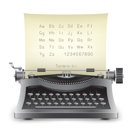 The retro desktop black typewriter with alphabet on the white background