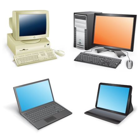 office desktop: The collection which shows evolution of computers isolated on a white background
