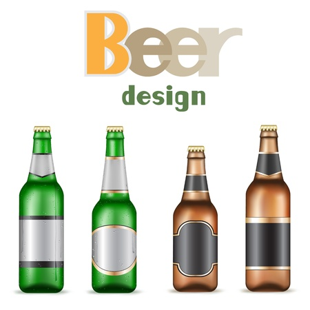 Green and brown beer bottles on the white background Vector