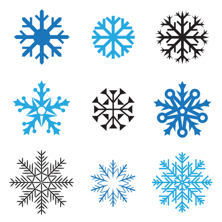 Different simple snowflakes for design on white background Vector