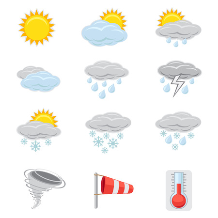 A collection of icons that show different weather Stock Vector - 23643561