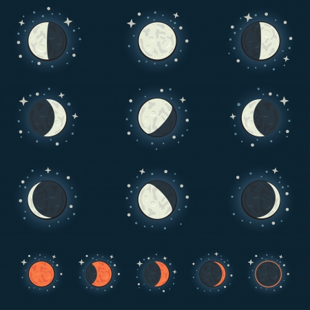All possible phases of the moon and the lunar eclipse, on a dark star background Vector