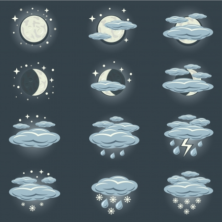 A collection of icons that show night weather Stock Vector - 23643570