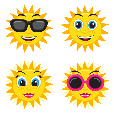 he is different: Illustration of the he and she sun with glasses and different face expressions
