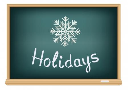 big break: Text message on the school blackboard that represent the winter holidays
