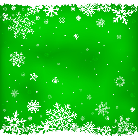 season greetings: The white snow on the light green mesh background, winter theme. Illustration