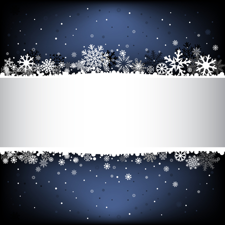 The white snow on the dark blue mesh background with text area, winter theme.