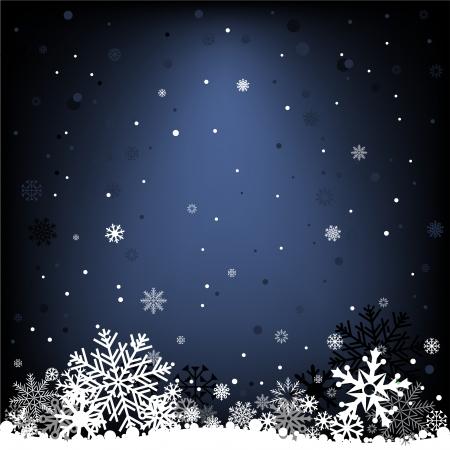 The white snow on the dark blue mesh background, winter theme. Illustration