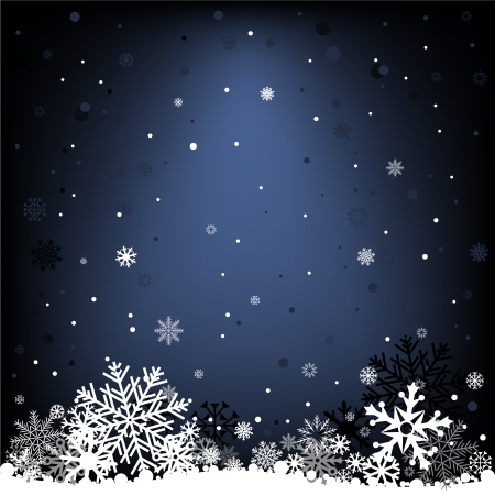symbol on a dark background: The white snow on the dark blue mesh background, winter theme. Illustration
