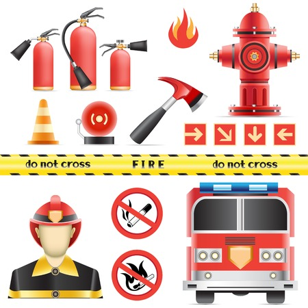 extinguisher: Set of the fire objects isolated on the white background Illustration