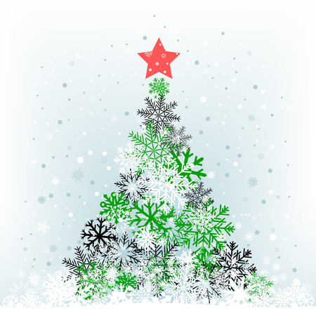 The color snow feer-tree with red star on the cerulean mesh background Vector