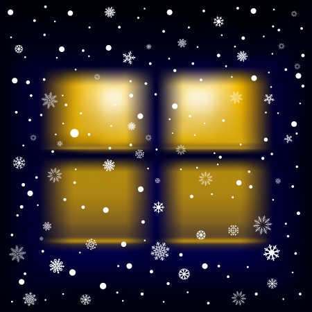 wintry: The night window and falling snow, winter theme.