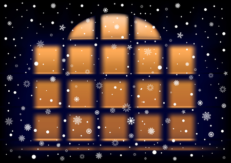 extra large: The night extra large window and falling snow, winter theme.