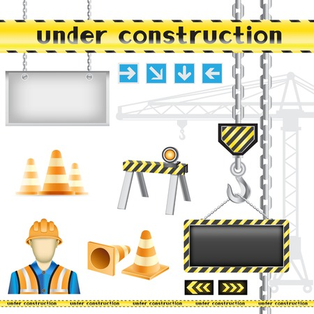 Set of the construction objects isolated on the white background Vector