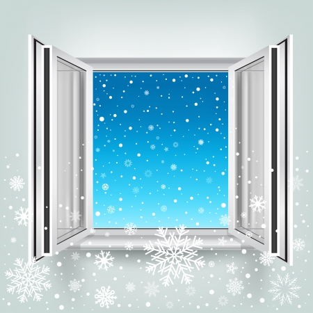 The opened plastic window and falling snow, winter theme.