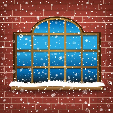 The large wooden window and falling snow, winter theme. Vector