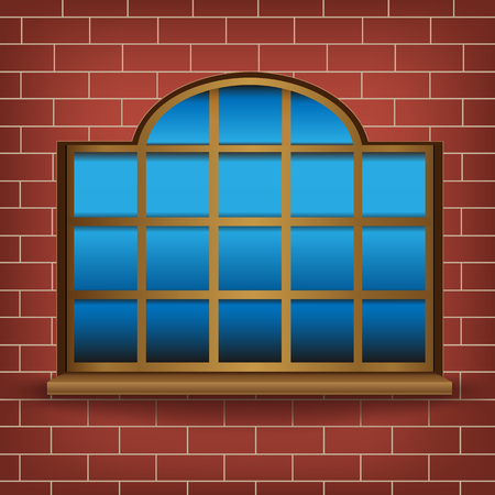 wooden window: The large wooden window on mesh wall background Illustration