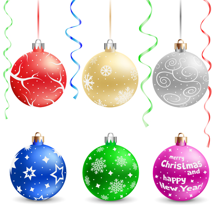 The multicolored christmas bauble and ribbons isolated on the white background Vector
