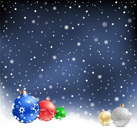 The multicolored christmas bauble on the night mesh background Vector