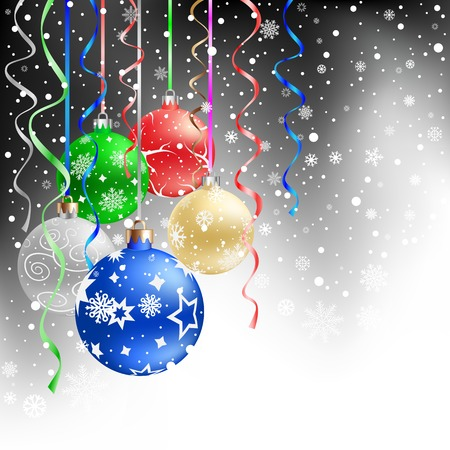 silver balls: The multicolored christmas bauble and ribbons on the black mesh background