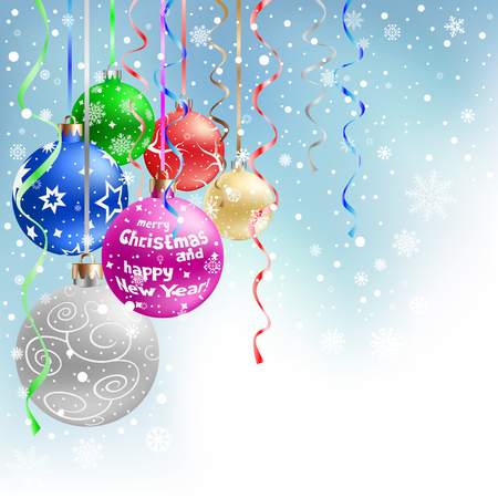 The multicolored christmas bauble and ribbons on the blue mesh background Vector