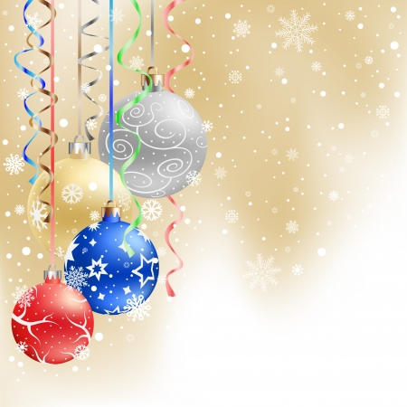 The multicolored christmas bauble and ribbons on the light mesh background Vector