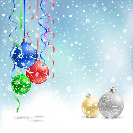 silver balls: The multicolored christmas bauble and ribbons on the azure mesh background