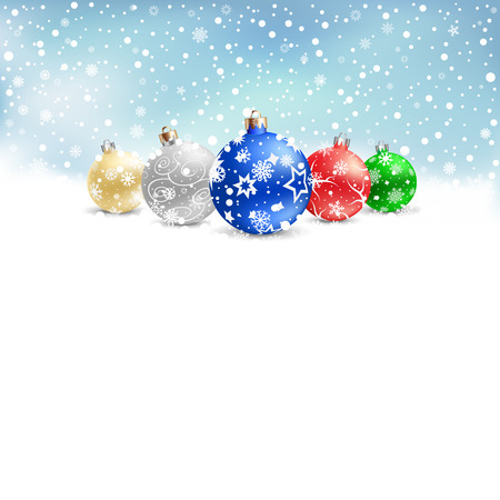 The multicolored christmas bauble and textarea on the blue mesh background Vector