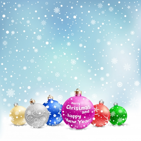 snowflake set: The multicolored christmas bauble on the light blue mesh background