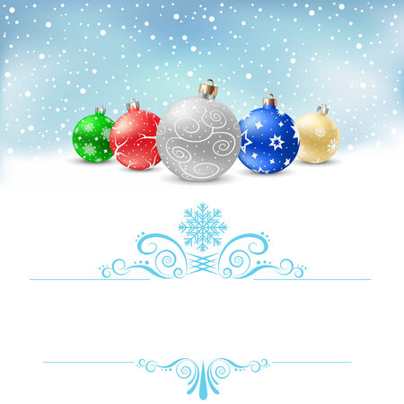The multicolored christmas bauble and blue swirly pattern on the white background with text area Vector