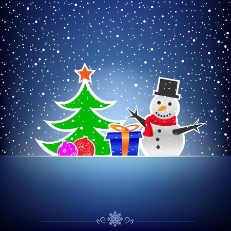 Christmas cartoon card with snowman, fir-tree, bauble and present on the blue snow background Vector