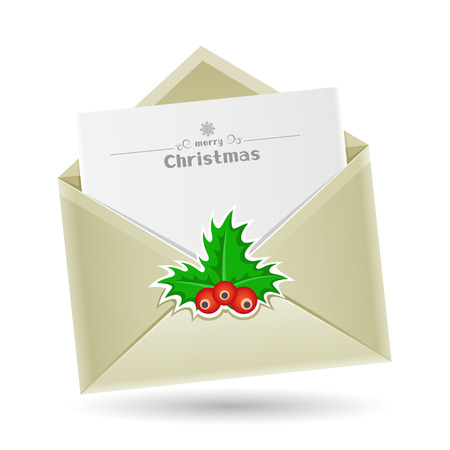 The Christmas mail, open envelope with a sheet of paper inside isolated on the white background Vector
