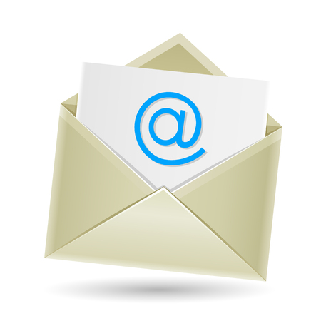 The mail, open envelope with a sheet of paper inside and e-mail symbol isolated on the white background Vector