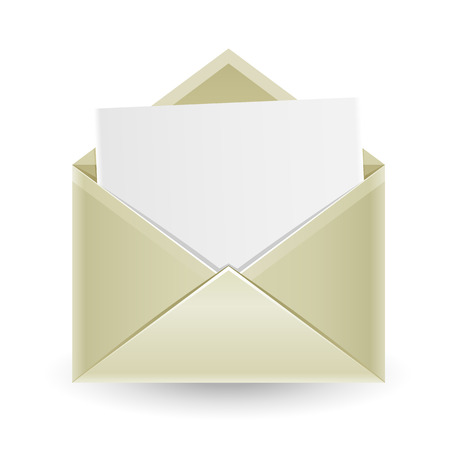The mail, open envelope with a white sheet of paper inside isolated on the white background
