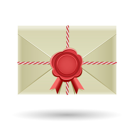 cartoon envelope: The closed envelope, with red seal and wrapped cord, rear view isolated on the white background
