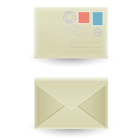 unread: Two closed envelopes, front and rear view isolated on the white background