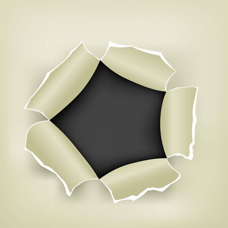 Hole in the white paper and black background inside Vector