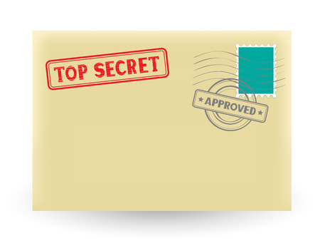 dossier: The secret correspondence, closed envelope with stamp on the white background Illustration